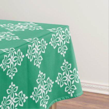 White Fleur De Lis On Green Tablecloth