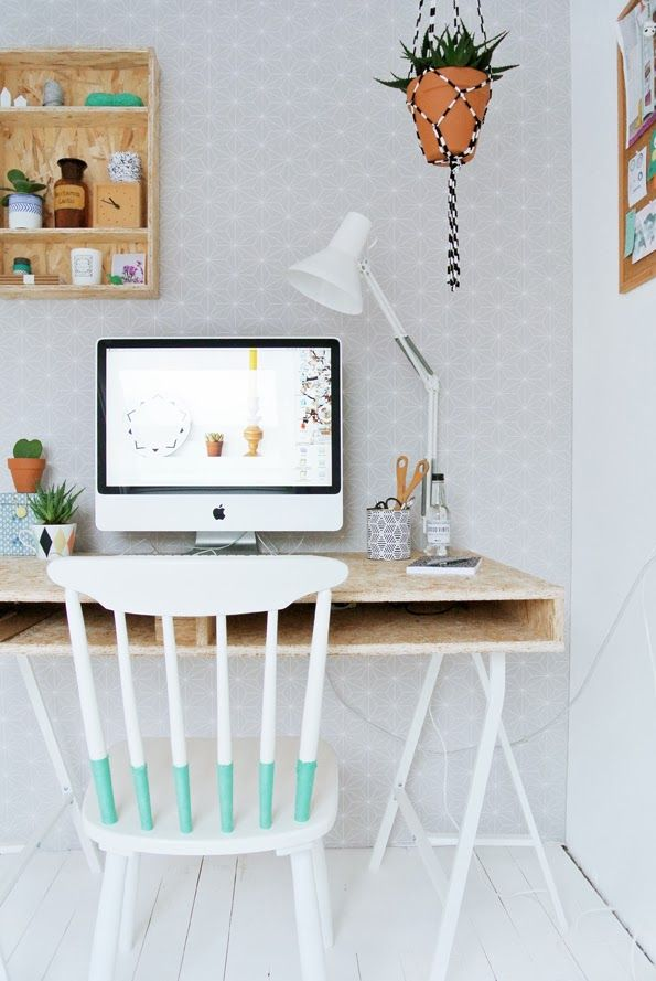Home office - proof you can set up a very chic home office in even the smallest nook!