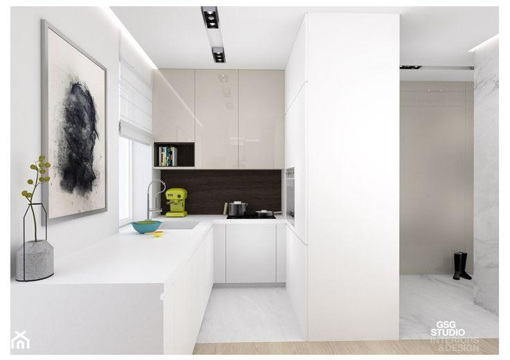 Chmielna Park | Gdańsk Śródmieście - Średnia otwarta kuchnia w kształcie litery u w aneksie z oknem, styl nowoczesny - zdjęcie od GSG STUDIO | interiors & design