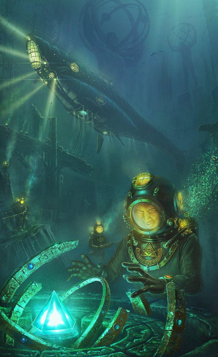 The heart of Atlantis, Pavel Kobyzev on ArtStation at https://www.artstation.com/artwork/the-heart-of-atlantis