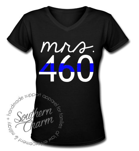 Southern Charm Designs Thin Blue Line Mrs Badge Number