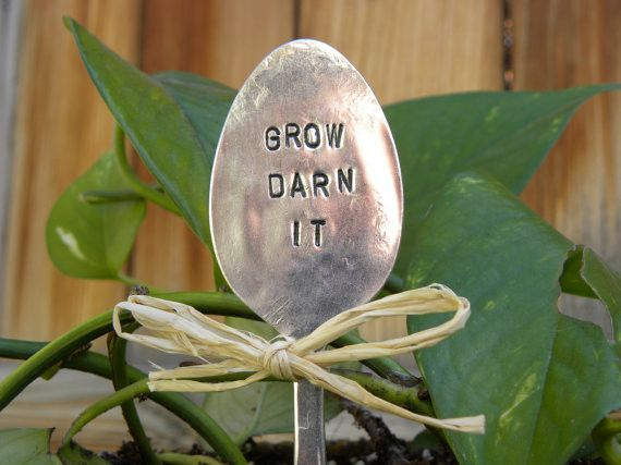 GROW DARN IT - Garden marker - silver plated spoon - hand stamped - vintage or antique - great for the gardener