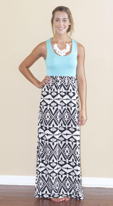Aqua Aztec Tank Maxi Dress - Lily And Lace Boutique