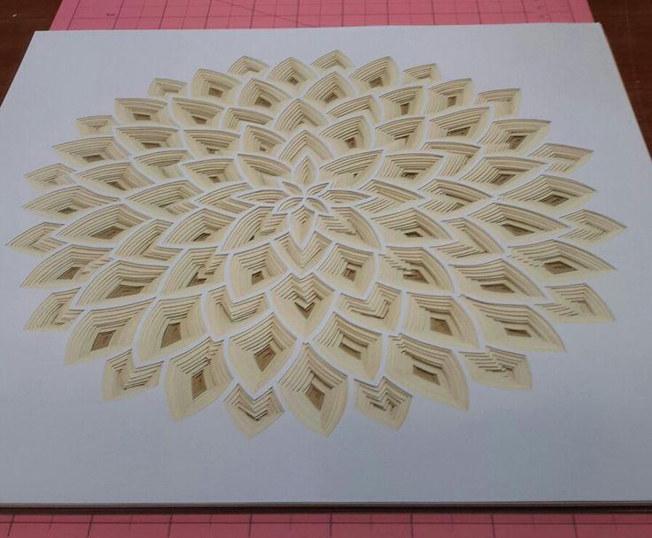 Xmas paper cut mandala using metallic card