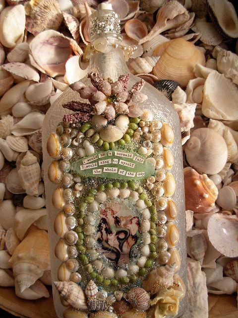 MermaidAltered Bottle, Doityourself Gift, Gift Ideas, Diy Gift, Mermaid Bottle, Sea Shells Crafts Art, Gift Handmade, Handmade Gift, Bottle Art