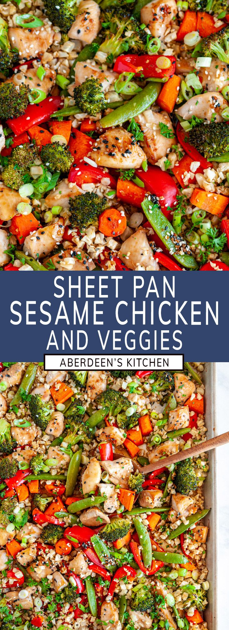 Sheet Pan Sesame Chicken with Veggies – Quick, easy, gluten and dairy free full sesame chicken dinner and veggies done i…