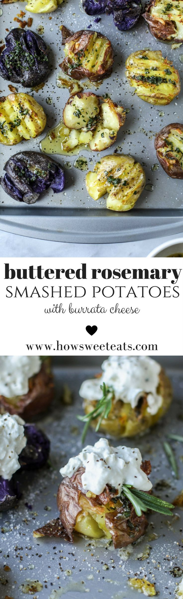 Buttered Rosemary Smashed Potatoes with Burrata Cheese! I howsweeteats.com @howsweeteats