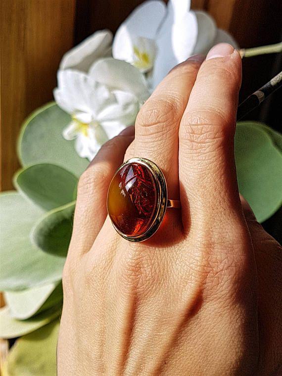 Argent et ambre unique belle bague ambre rouge plaqué belle