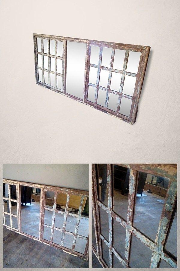 Miroir industriel réalisé à partir d'une ancienne verrière d'usine