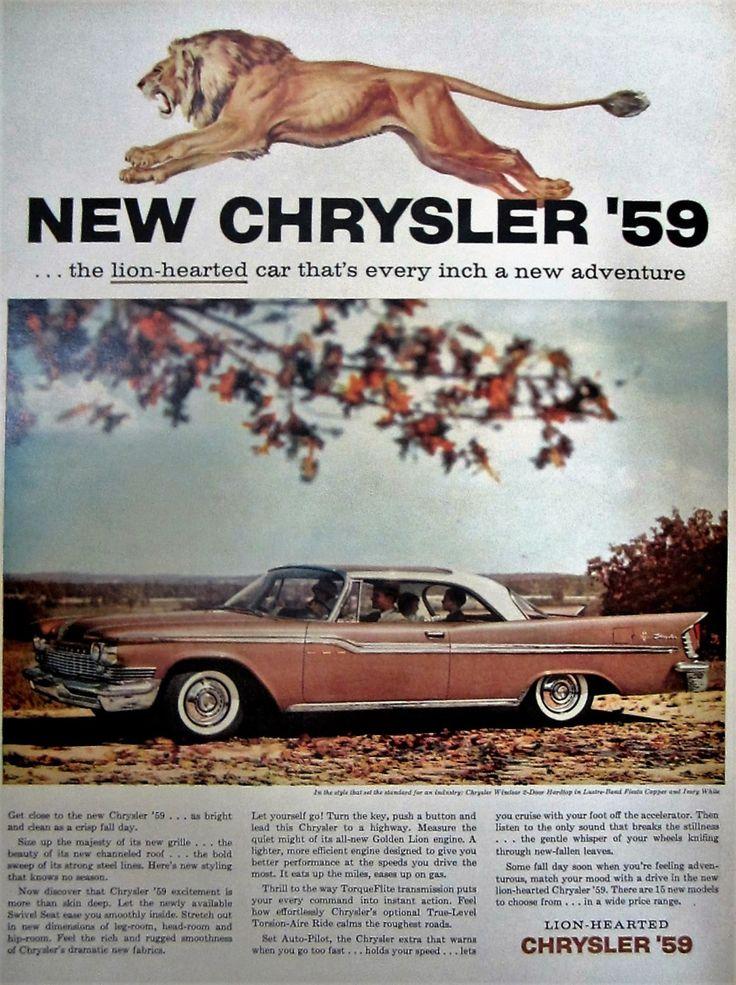 1958 Chrysler '59 Vintage Advertisement Automotive Wall Art Man Cave Decor Lion Art Original Automobile Magazine Ad Classic Car Ephemera by RelicEclectic on Etsy