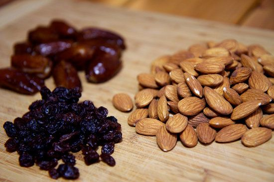 Measure the Ingredients: You'll need:10 dried dates, pitted (often found in the produce section)One cup raw almonds1/4 cup raisinsA food processor