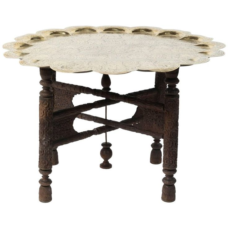 Anglo Indian Hammered Round Polished Brass Tray Table on Folding Stand   1stdibs.com