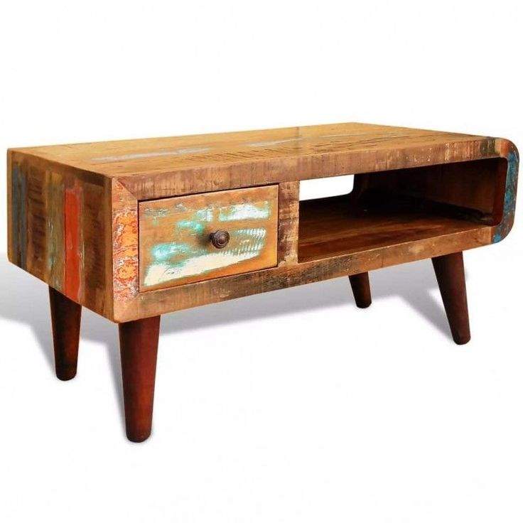 Wooden Coffee Table Drawer Antique Storage Stand L…