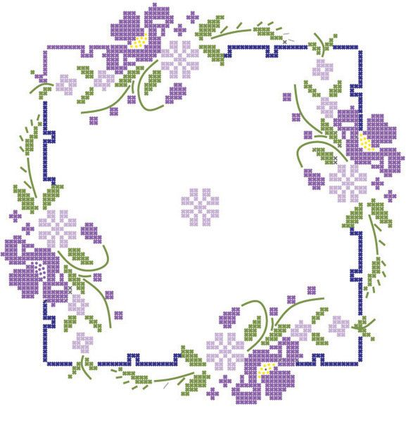 Quilt Blocks Stamped Iris On Square Border