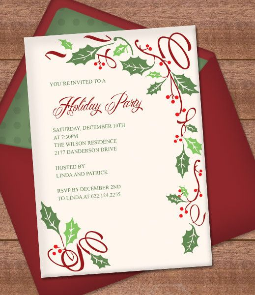DIY Holly Christmas Invitation template from #DownloadandPrint.  http://www.downloadandprint.com/templates/christmas-invitation-templates-with-holly/