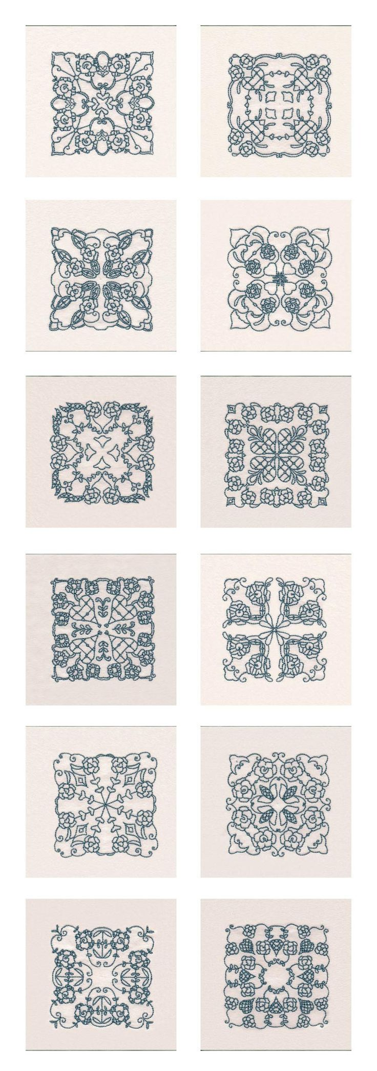RW Native Rose Blocks Embroidery Machine Design Details