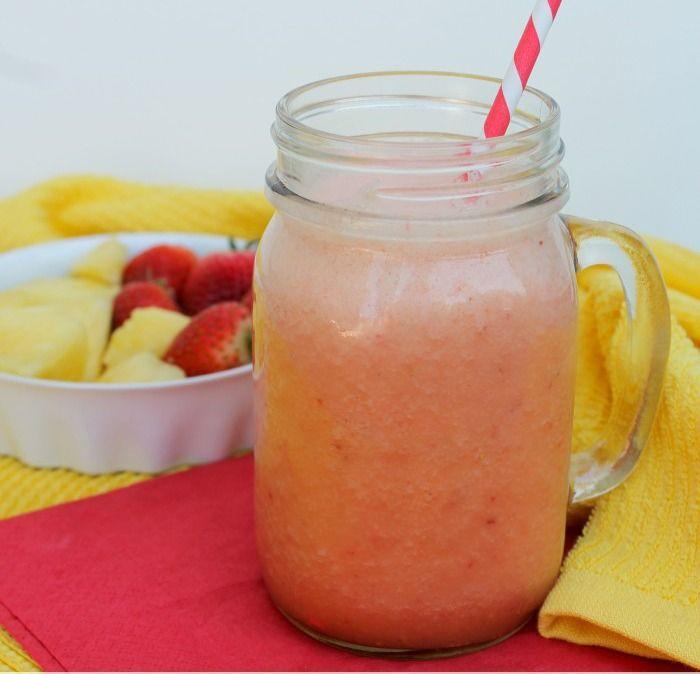 Strawberry Sunrise  2 cups Orange Juice 1/2 pound strawberries 1/2 pound pineapple (fresh works best!) 1/2 banana 6 large ice cubes