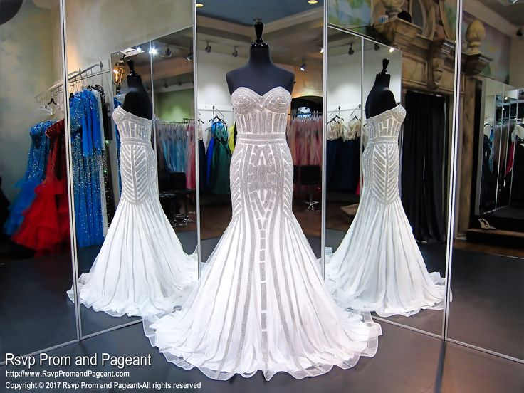 Diamond White Strapless Prom Pageant Debutante Dress