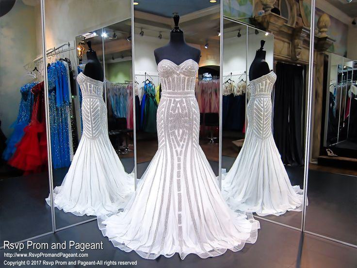 Diamond White Strapless Prom Pageant Debutante Dress