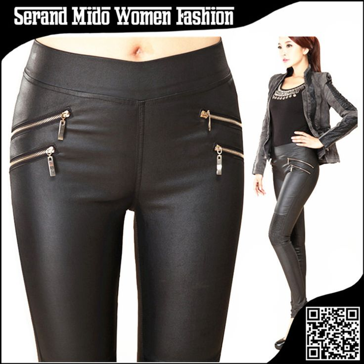 Casual women leather pants Mid elastic waist skinny pencil pants women's clothing pants&capris calca feminina pantalones mujer alishoppbrasil