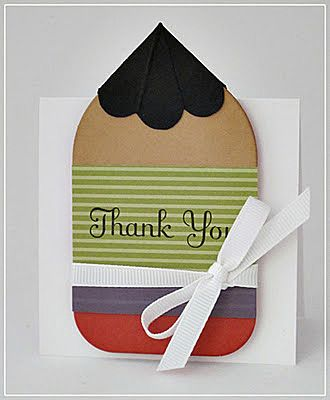 DIY cut/paste pencil-shaped thank you cards (or blank notecards)