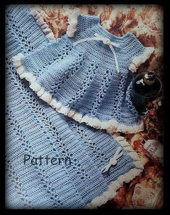 Crochet Baby Dress Crochet Baby Dress and Afghan Pattern PDF 03130204 Instant...