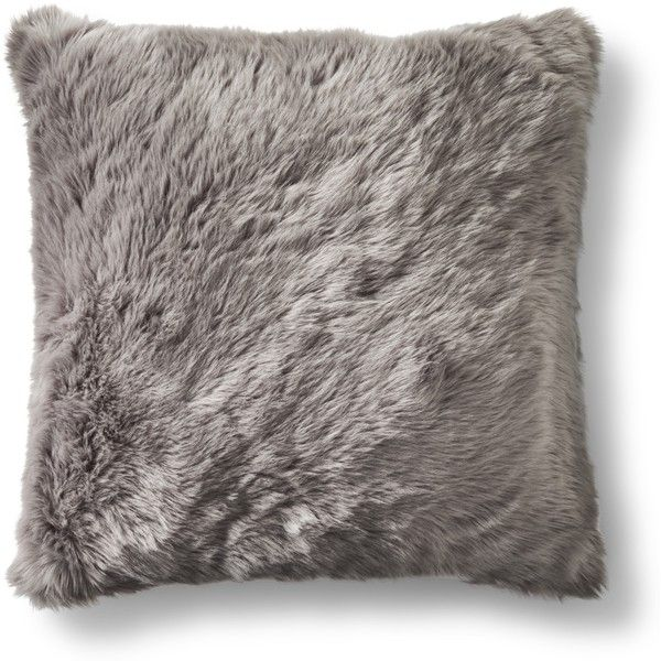 Threshold Oversized Gray Faux Fur Pillow ($50) ❤ liked on Polyvore featuring home, home decor, throw pillows, my hom, pillow, oversized throw pillows, gray accent pillows, grey toss pillows, gray home decor and grey home decor