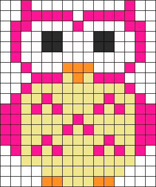 Pink Owl Perler Bead Pattern / Bead Sprite