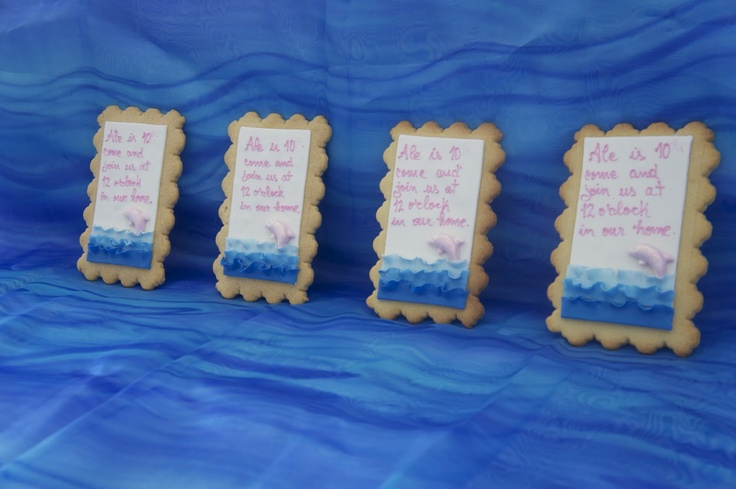 Pink dolphin party:The Cookie Invitation. Unique!