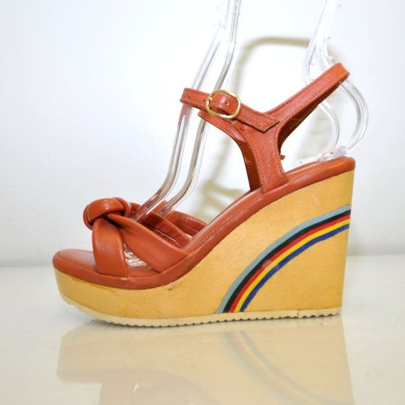 Platform Heels Size 5.5 Vintage 70s Wooden Wedge Rainbow Leather Bohemian Wood Sandals