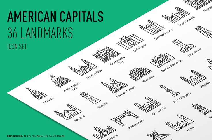 American Capitals Icon Set by bhj on @creativemarket