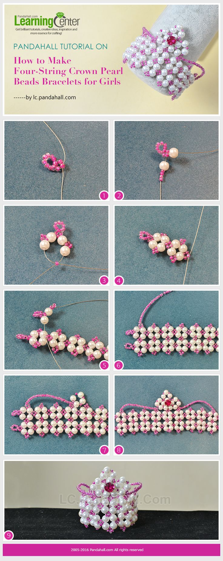 Tutorial on How to Make Four-String Crown Pearl Beads Bracelets for Girls from LC.Pandahall.com
