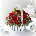 Warm wishes Christmas basket of flowers. Send flowers online.