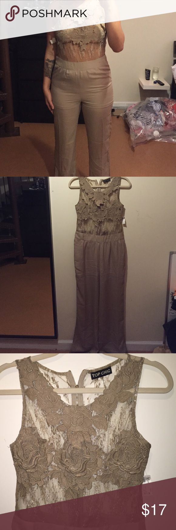 Taupe Lace Jumpsuit A little too tight on me!!! :( Gorgeous Jumpsuit that hugs all the right places and shows some skin. Originally $28 from Top Chic  bought in a boutique NYC. Dresses