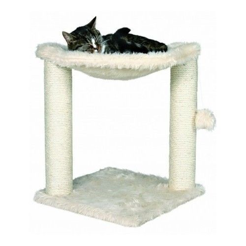 Pet Scratching Post Cat Tree Furniture Protector Comfortable w/Toy White Fabric #TrixiePetProducts