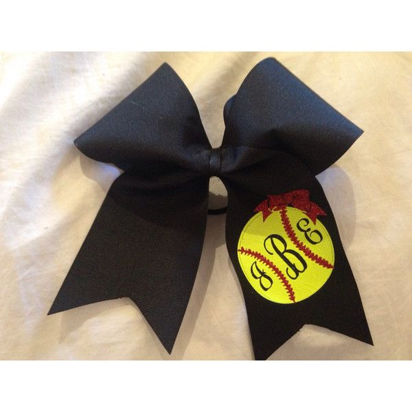 Monogrammed Softball Bow ($14) ❤ liked on Polyvore featuring accessories, hair accessories, black, ties & elastics, hair bow accessories and black hair accessories