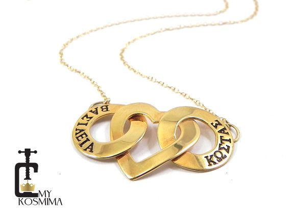 Washers and heart necklace hand stamped with dates or by MyKosmima