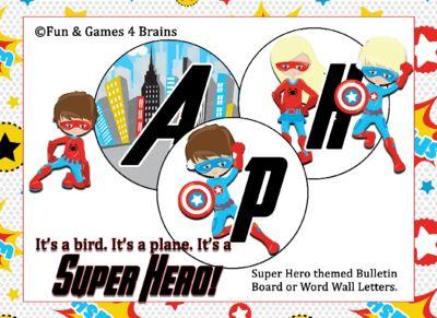 Superhero themed Word Wall or Bulletin Board Letters from shelbert13 from shelbert13 on TeachersNotebook.com (30 pages)  - Superhero themed Word Wall or Bulletin Board Letters