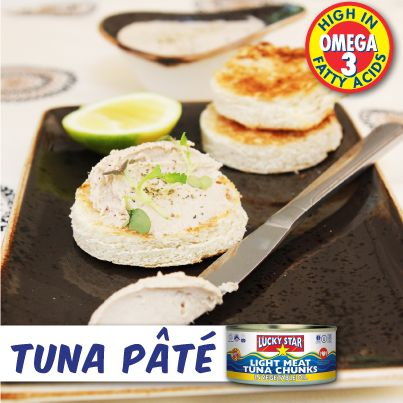 How to make the perfect Tuna Pâté  This starter is simple and quick to make and is absolutely delicious!  What you need:  2 x tins Lucky Star Tuna  300g cream cheese  Juice & zest of 1 lemon  1 tsp. horseradish sauce Pinch of salt Pinch of black pepper  Method:  Blend the tuna with the other ingredients and blitz for 1 minute.  Place in a bowl, cover and put in the fridge for 20 minutes before serving.