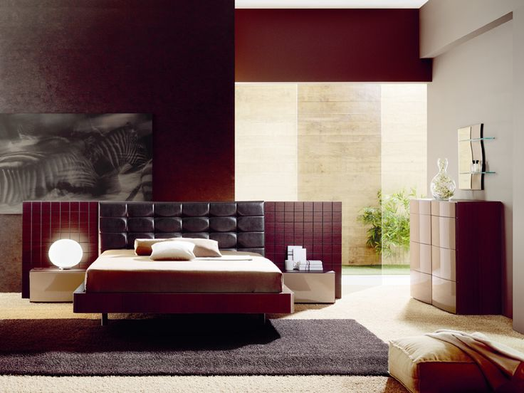 Wooden cappuccino bedroom set w leather headboard for Bedroom furniture queens ny