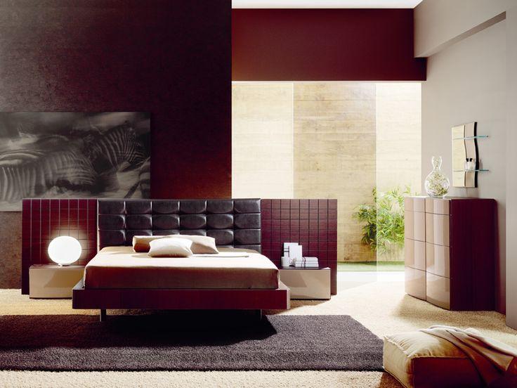 wooden cappuccino bedroom set w leather headboard