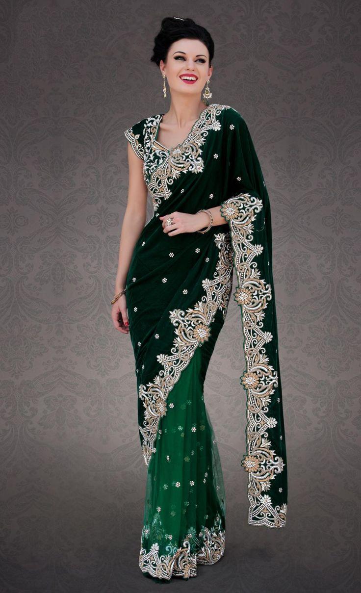 $1120.45 Green Velvet Diamond and Cut Work Wedding Designer Saree 23296