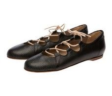Carousel Black Italian lace up ballet flats
