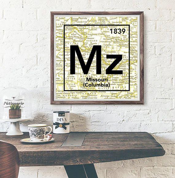 University Of Missouri Tigers Mizzou Columbia Mo Vintage Periodic Table Map UNFRAMED ART PRINT Birthday
