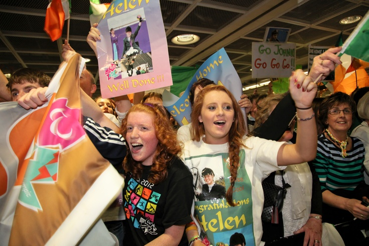 Enthusiastic fans waiting for Ireland's Paralympians at the Arrivals Hall in Terminal 1 at Dublin Airport on Monday, September 10, 2012.
