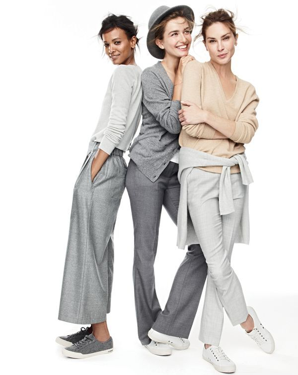 J.Crew women's Collection Italian cashmere long-sleeve T-shirt, cropped pant, SeaVees® for J.Crew  Monterey sneakers, Collection Italian cashmere boyfriend cardigan, Preston pant, Collection cashmere boyfriend V-neck sweater and Campbell trouser.