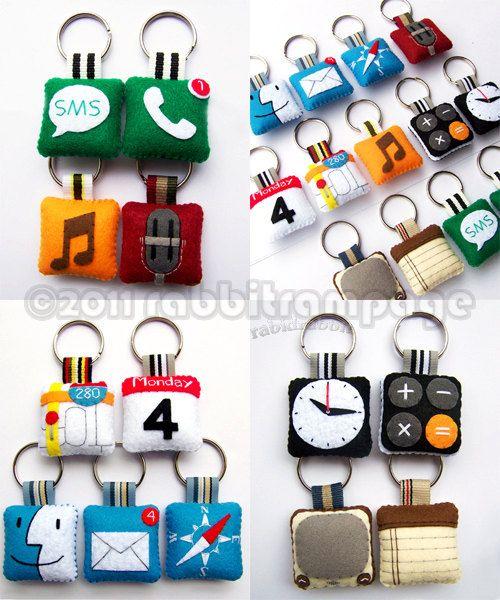 felt iphone app keychains - cute!