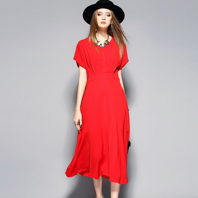 Red Women Fashion Summer Dress 2017 Ladies V-Neck Short Sleeve Solid Red Mid-Calf Length Elegant Office Party Business Dress