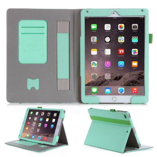 SAVFY iPad Air /iPad Air 2 Hülle 11,99 Euro                            Auto Sleep Wake up Funktion Business Serie Case Smart Cover mit Klettverschluss Handschlaufe, Kartensteckplätze mintgrün