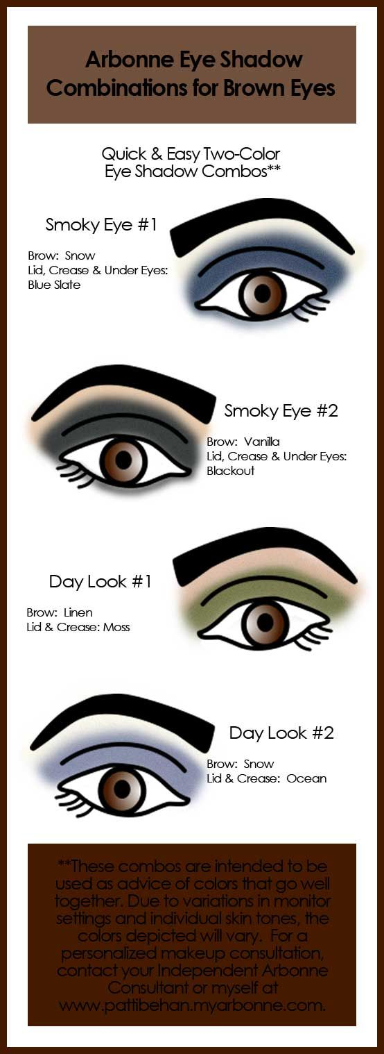 Here are some suggested Arbonne Eye Shadow Combinations for Brown Eyes for quick and easy application.